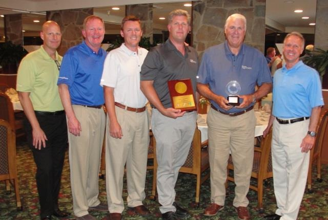 (L to R) Chris Helsel, director, retread, Goodyear; Doug Whittington, director of commercial tire sales, Goodyear; John Daniels, executive vice president, Daniels Tire; Doug Daniels Jr., president, Daniels Tire; Doug Daniels Sr., chairman, Daniels Tire; and Phillip Kane, vice president, Goodyear Commercial Tire  Systems. Photo courtesy of Goodyear
