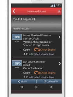 Cummins' new Guidanz telematics system features a 9-pin J1939 interface that downloads engine fault codes directly to a smartphone or similar mobile device.