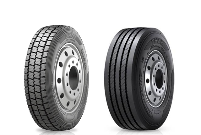 The Hankook DH07 drive position tire (left) and the TH22 low platform trailer tire. Photo: Hankook Tire