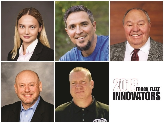 Heavy Duty Trucking magazine has announced the 2018 HDT Truck Fleet Innovators. From top left: Andreea Crisan, Sergio Rojas, Tom Schilli, David Myers, Joel Morrow.