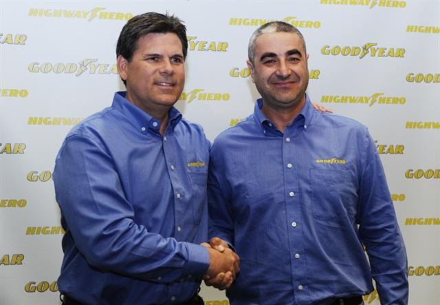 Gary Medalis, left, marketing director, Goodyear commercial tire systems andIvan Vasovic, last year'sGoodyear Highway Hero:Photo via Goodyear