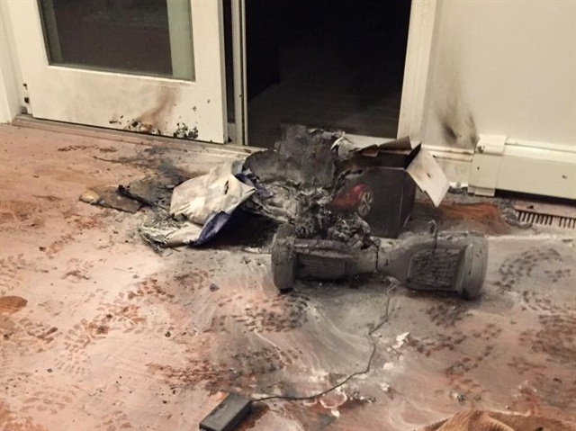 The aftermath of a fire involving a hoverboard device. Photo: Chappaqua Fire Department