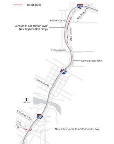 Map of the affected area. Graphic via Minnesota Department of Transportation.