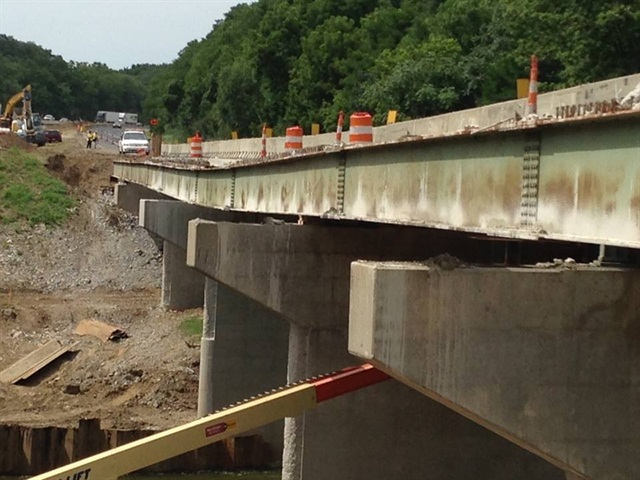 The cause of the closure: the I-65 Wildcat Creek Bridge in Tippecanoe County. Photo: Indiana DOT via Facebook