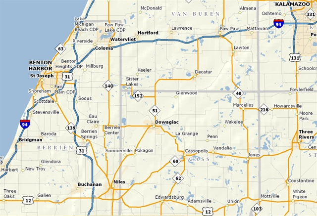 Map of Interstate 94 in southwest Michigan.