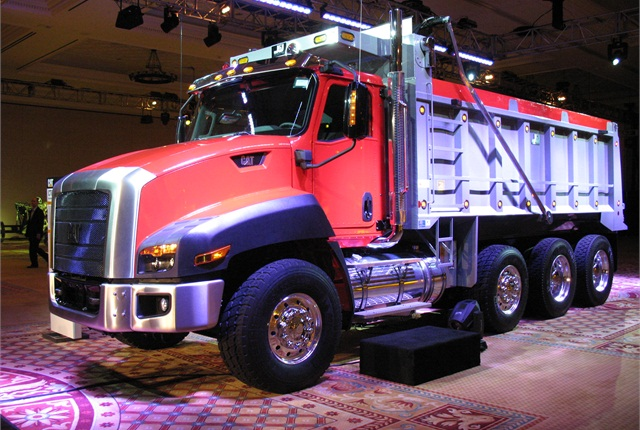 Cat introduced its CT-680 axle-back vocational truck in 2011, and subsequently added two axle-forward versions. Photo: Tom Berg