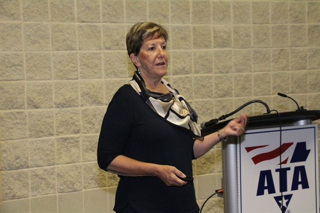 Karen Rasmussen, Help president and CEO, speaking at the company's ATA MC&E press conference. Photo: Evan Lockridge