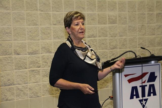 Karen Rasmussen, Help president and CEO, speaking at the company's ATA MC&E press conference. Photo: Evan Lockridge