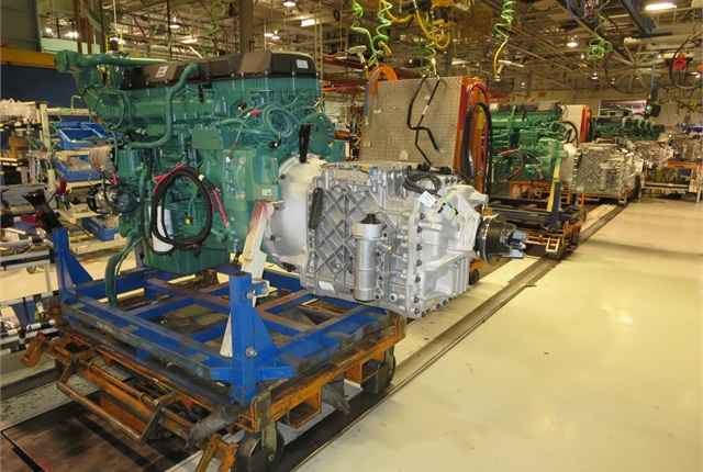 Green Volvo diesel mated to silver I-Shift AMT is by far the most commonpowertrain installed in Volvo trucks in its New River Valley, Va., plant.