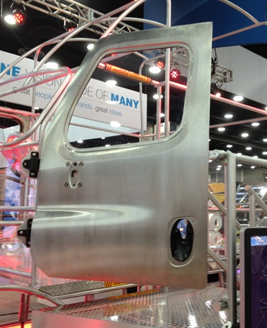 Aluminum door skins and structural components can save about 60 pounds per cab.