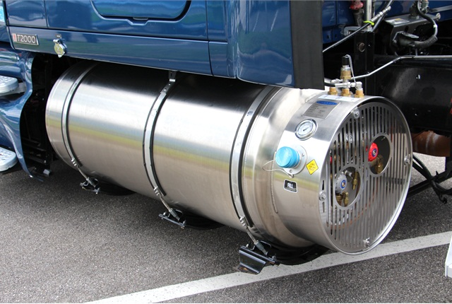Natural gas fuel tank on a heavy-duty truck. Photo: Evan Lockridge