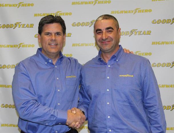 Gary Medalis, left, marketing director, Goodyear commercial tire systems andIvan Vasovic,31st Goodyear Highway Hero. Photo: Evan Lockridge