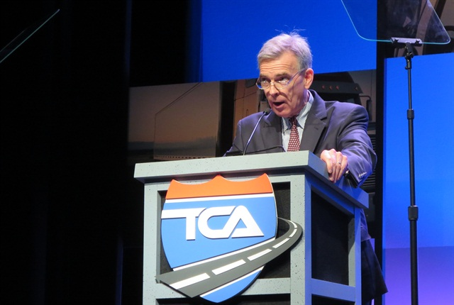 John Larkin speaking at TCA's annual convention. Photo by Deborah Lockridge