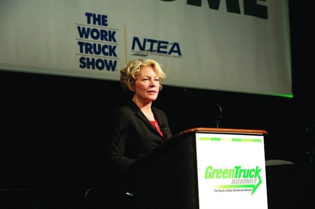 """Daimler's Kary Schaefer explains why she thinks that green innovation """"goes beyond reducing tailpipe emissions."""" Photo:NTEA"""