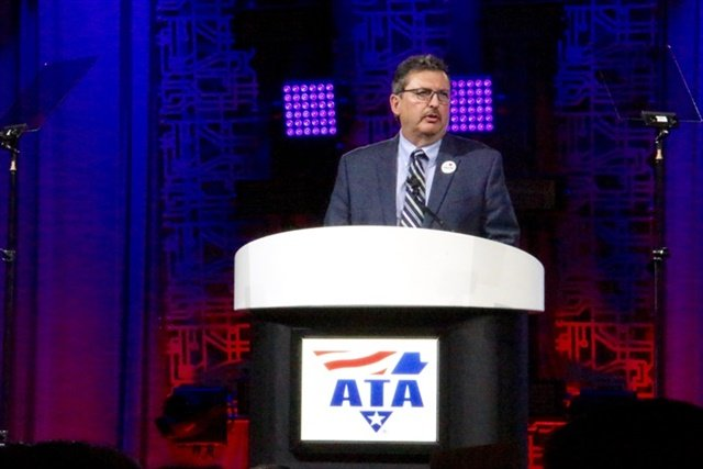 Kevin Burch, new ATA chairman, addresses attendees at an awards luncheon. Photo: Evan Lockridge