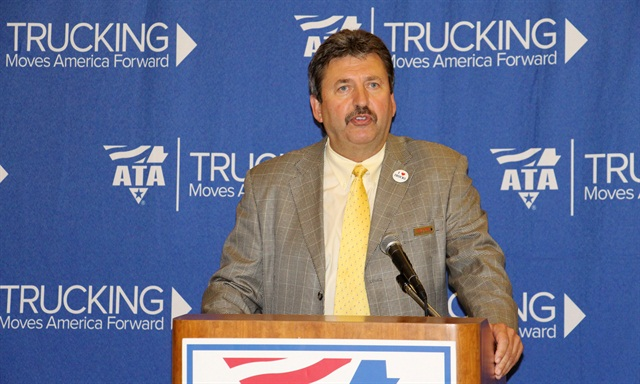 Kevin Burch, speaking at ATA MC&E about the progress of the Trucking Moves American Forward campaign. Photo by Evan Lockridge.