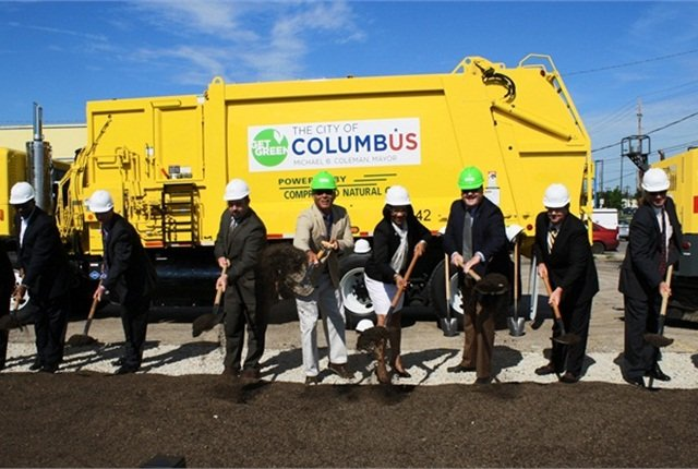 Officials from the City of Columbus and others break ground at the site of will be the City's second publicly accessible compressed natural gas fueling station.