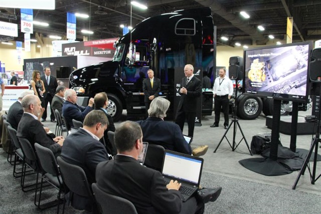 Officials from Mack Trucks made several announcement to the trucking press Monday afternoon during the American Trucking Associations' annual Management Conference & Exhibition in Las Vegas. Photo: Evan Lockridge