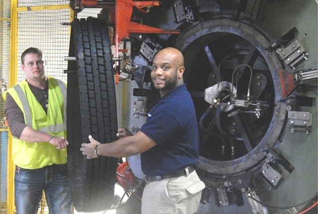 The 4 millionth tread coming off the production line at the Madison plant: Photo: Marangoni.