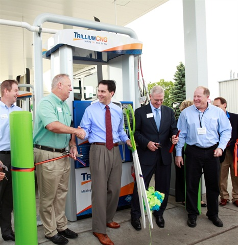 Wisconsin Governor Scott Walker was on hand to celebrate the opening of the EVO Trillium CNG facility in Oak Creek Wisconsin.