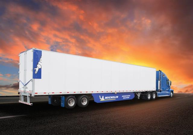 Michelin's new Energy Guard tractor trailer aerodynamic system features a new, wake reducer tab that works like a spoiler and reduces the air recirculation zone behind a trailer at highway speeds. Photo: Michelin