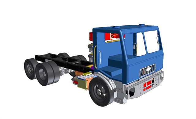 The Motiv All-Electric Powertrain, installed on the Sacramento electric refuse truck, transforms a chassis meant to be diesel-powered to one with zero-emission all-electric drive. Image: Motiv