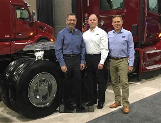 Eco Flaps, IMI and RealWheels Corporation are offering an MGP Smart Pack of fuel-savings products that can be purchased together. From Left: Bren Marshell, Eco Flaps; Bob Fogal, IMI; Jan Polka, RealWheels Corporation.