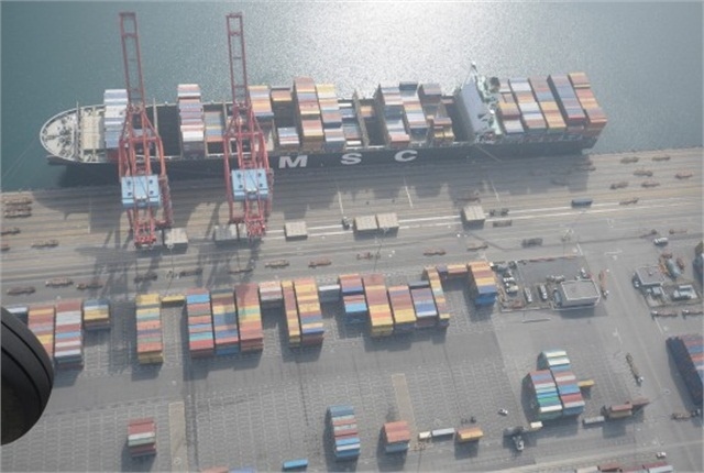 Photo taken Feb. 6,at the Port of Long Beach. Credit: ILWU