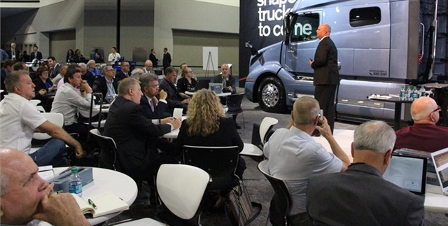 Media out in force at Volvo press conference at the NACV Show. Photo: Evan Lockridge