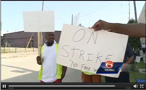 Local TV station reports on trucker protest at Port of New Orleans.