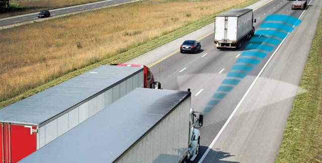 """As this illustration for Meritor Wabco's Onguard system illustrates, forward collision avoidance technologies """"see"""" obstacles ahead."""