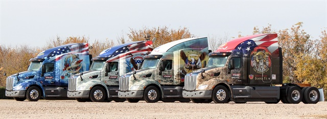 pam transport sends custom trucks to deliver wreaths - drivers