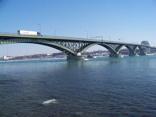 The Peace Bridge near Buffalo, N.Y. Photo via Wikipedia commons user Óðinn