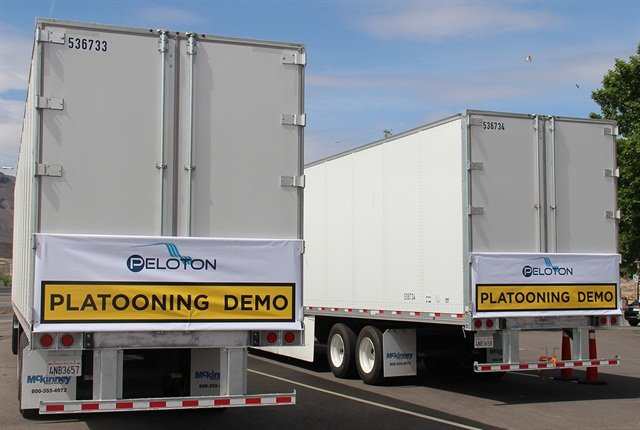 These two tractor trailer combinations were used to demonstrate platooning technology by Peloton Technology during an event outside Reno May 8. Photo: Jim Beach