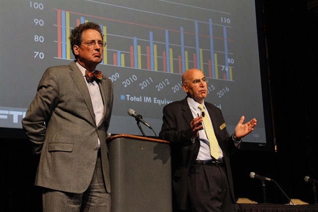 Noël Perry (left) and Larry Gross speaking at the FTR Transportation Conference. Photo: Evan Lockridge