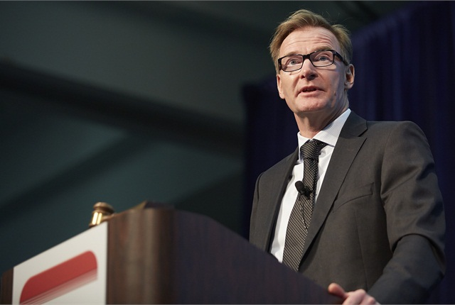 Volvo CEO Olof Persson keynoting HDMA Briefing at MATS. Photo by Paul Hartley courtesy HDMA