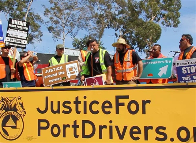 Drivers at four port trucking companies had been on strike since April 27. Photo via Justice for Port Drivers