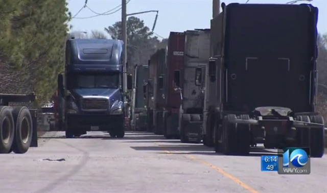 Trucks are backed up along the roads leading into the Port of Virginia. Image:Via Wavy.com video
