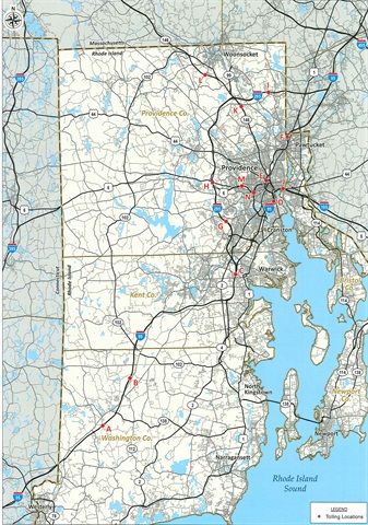 A map of preliminary tolling locations from the Rhode Island DOT.