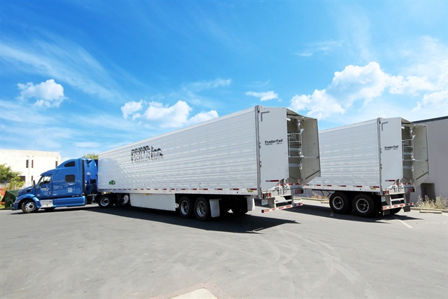 Two Prime trailers equipped with TrailerTails: Photo via ATDynamics.
