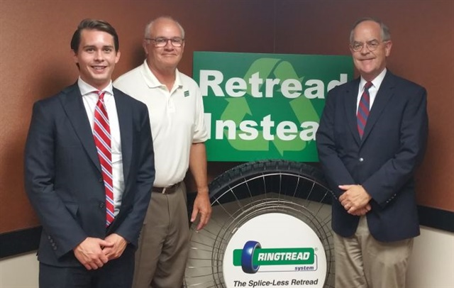 Left to right: Christopher Jerrolds, legislative assistant, Bill Sweatman, president Marangoni Tread North America, and Rep. Jim Cooper (D-TN). Photo: Marangoni Tread North America
