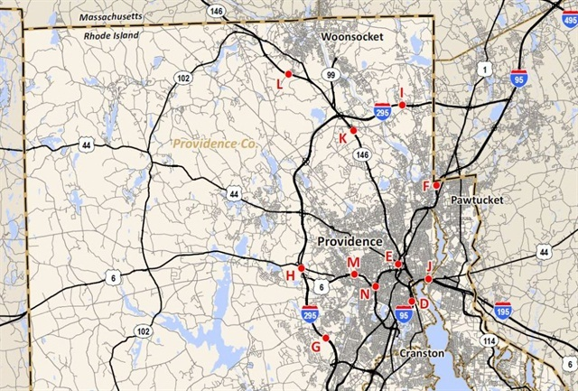 Map shows 11 of 14 proposed locations for truck-only tolls in Rhode Island.Image: RI DOT