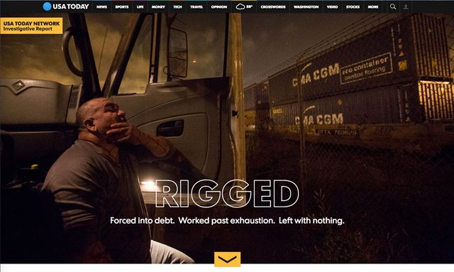 A screenshot from USA Today's investigative report on Southern California port drivers.