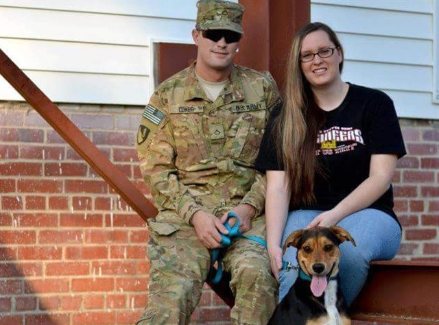 Road Warrior Kyle Cones, his wife, Brittney, and dog, Daisy:Photo: Pilot Flying J.
