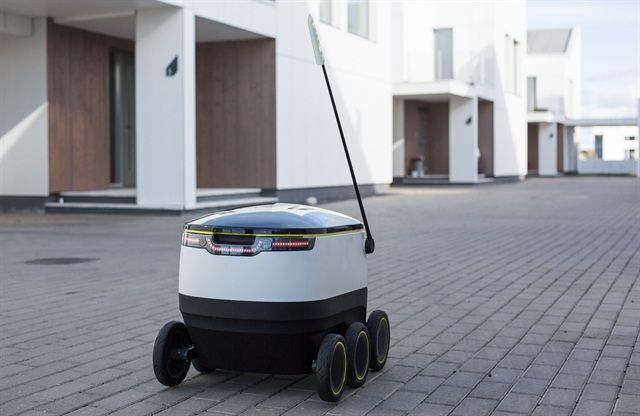 One of Starship Technologies' delivery robots. Photo via Starship Technologies.