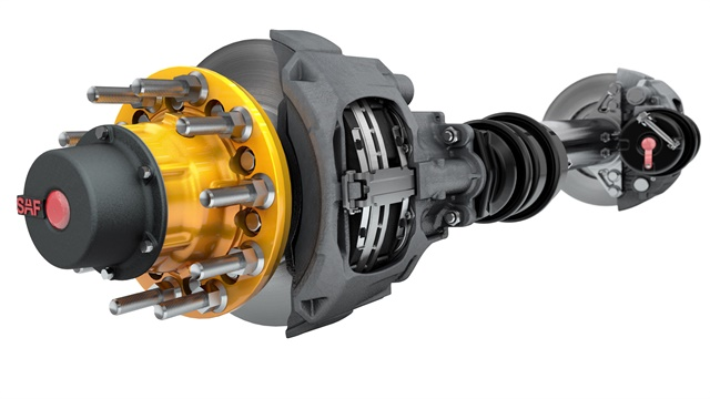 Base P89 air disc brake weighs about the same and costs not much more than trailer drum brakes, company executives say. P89 Plus includes a beefier rotor that resists heat distortion, and should be maintenance-free for seven years. Photos: SAF-Holland.