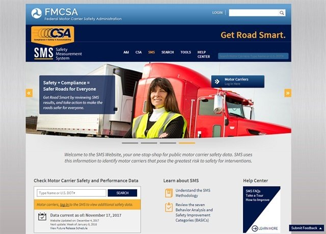 Screenshot of the FMCSA's Safety Measurement System website.