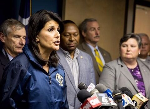 South Carolina Gov. Nikki Haley delivering an update on the ongoing flood emergency. Image via Facebook/Nikki Haley