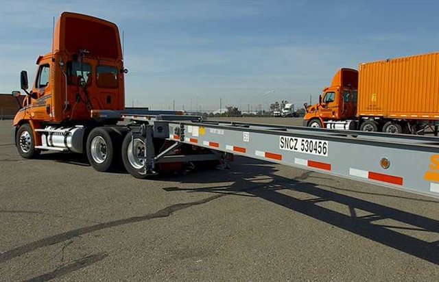 Over a four-year period, Schneider purchased 15,000 intermodal chassis. Photo: Schneider