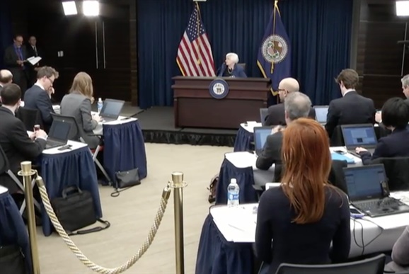 Federal Reserve Chair Janet Yellen talking with reporters follwing Wednesday's Fed announcement it is increasing interest rates. Photo: Evan Lockridge via FOMC website.